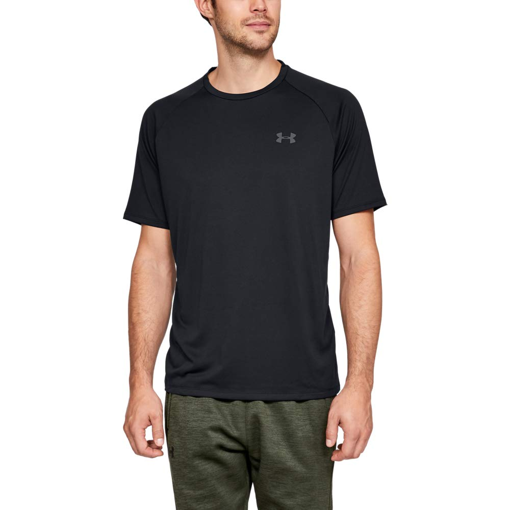 Under Armour mens Tech 2.0 Short Sleeve T-Shirt, Black (001)/Graphite, Large by Under Armour