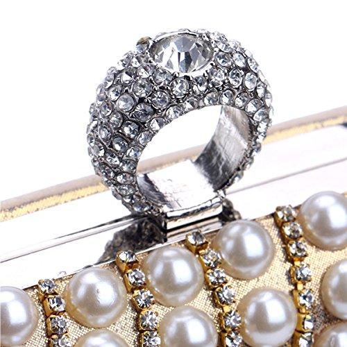 Argent spéciale Occasion Pochette Sacs Wedding Rouge soirée Femmes Sac de Faux à et Pearl Soirée main Flada Glitter Diamond Uxw71FqHxP