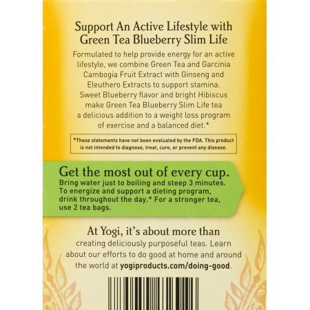 Amazon Com Pack Of 10 Yogi Green Tea Blueberry Slim Life Tea