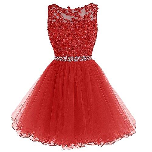 QIYUN.Z Mujeres A-Línea De Encaje Tutu Tul Vestido Vestido De Noche Abierta De Regreso Homecoming Bata Rojo
