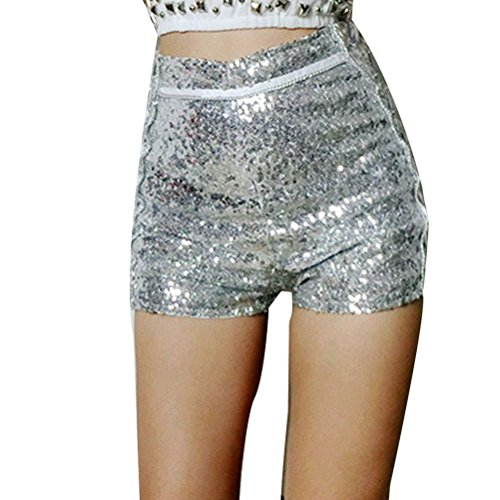 単調な確執チャネルZhhlaixing ホット販売 Nightclub Casual Womens Sequins High Waist Shorts Pants Hotpants Beach Slim Shorts Silver