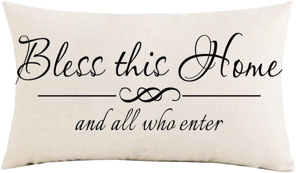 Jimrou Throw Pillow Cover 12x20 inches Festival Gifts Bless This Home and All Who Enter Wedding Anniversary Cotton Linen Decorative Home Sofa Chair Car Lumbar Throw Pillow Case Cushion Cover