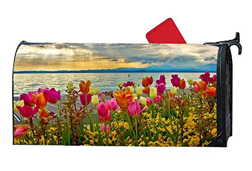 Custom Magnetic Mailbox Cover Standard Mailbox Wrap with Decorative Floral Design, Colorful Tulips Flowers Sunset Lake -