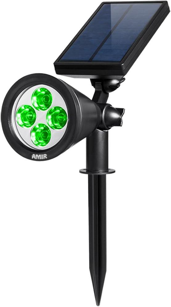 AMIR Solar Spotlights Outdoor Upgraded, Waterproof 4 LED Solar Security Landscape Lights, Adjustable Solar Garden Light with Auto On/ Off for Yard ...