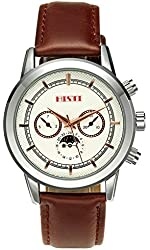 Men's Vintage White Rose Gold Analog Japanese Quartz Movement Dial Leather Band Strap Watches