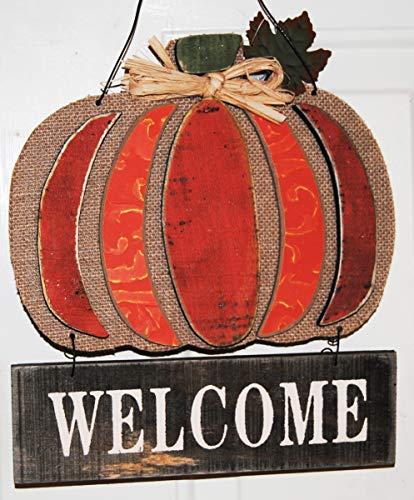 Pumpkin Door - Rustic Wood and Burlap Hanging Pumpkin Welcome Sign with Over The Door Hook (Orange)