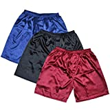 AEOPES 3PCS Men Satin Silk Boxers Pajama Short Trousers Shorts Underwear Sleepwear a Set XXL