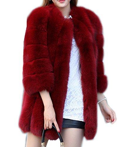 Women's Winter Thick Outerwear Warm Long Fox Faux Fur Coat wine 6XL Fox Fur Coat