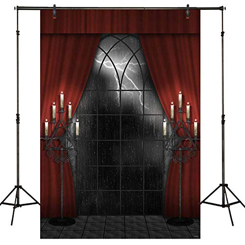 Funnytree 5X7ft Halloween Dark Night Red Curtain Backdrop Gothic Lighting Rain Gothic Window Vampire Photography Background Candles Scary Hallowmas Party Banner Indoor Portrait Photo Booth Studio