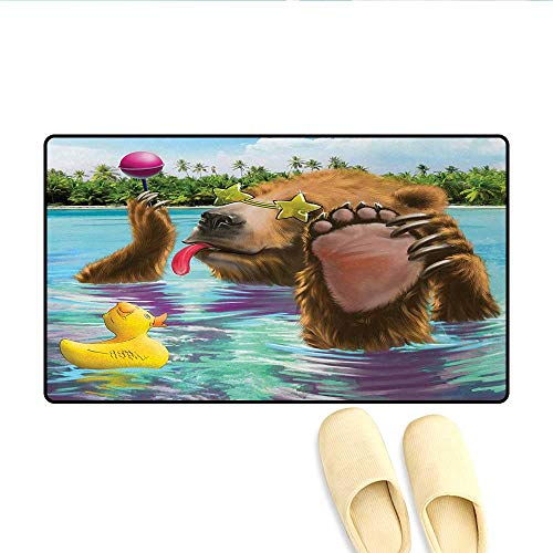 Bath Mat,Happy Fancy Wild Bear in The Sea by The Beach with its Sunglasses Candies Print,Door Mats for Inside,Multicolor,Size:32
