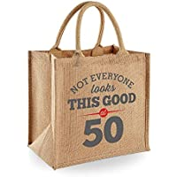 50th Birthday Keepsake Gift Bag Present for Women Novelty Jute Shopping Tote