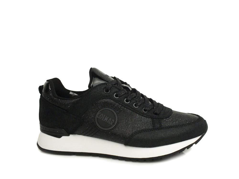 Colmar Travis Punk Zapatos Negros Mujer Zapatillas Cordones Piel Purpurina 39 EU Nero