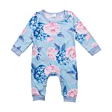 Baby Girl Clothes Blue Floral Rose Long Sleeve