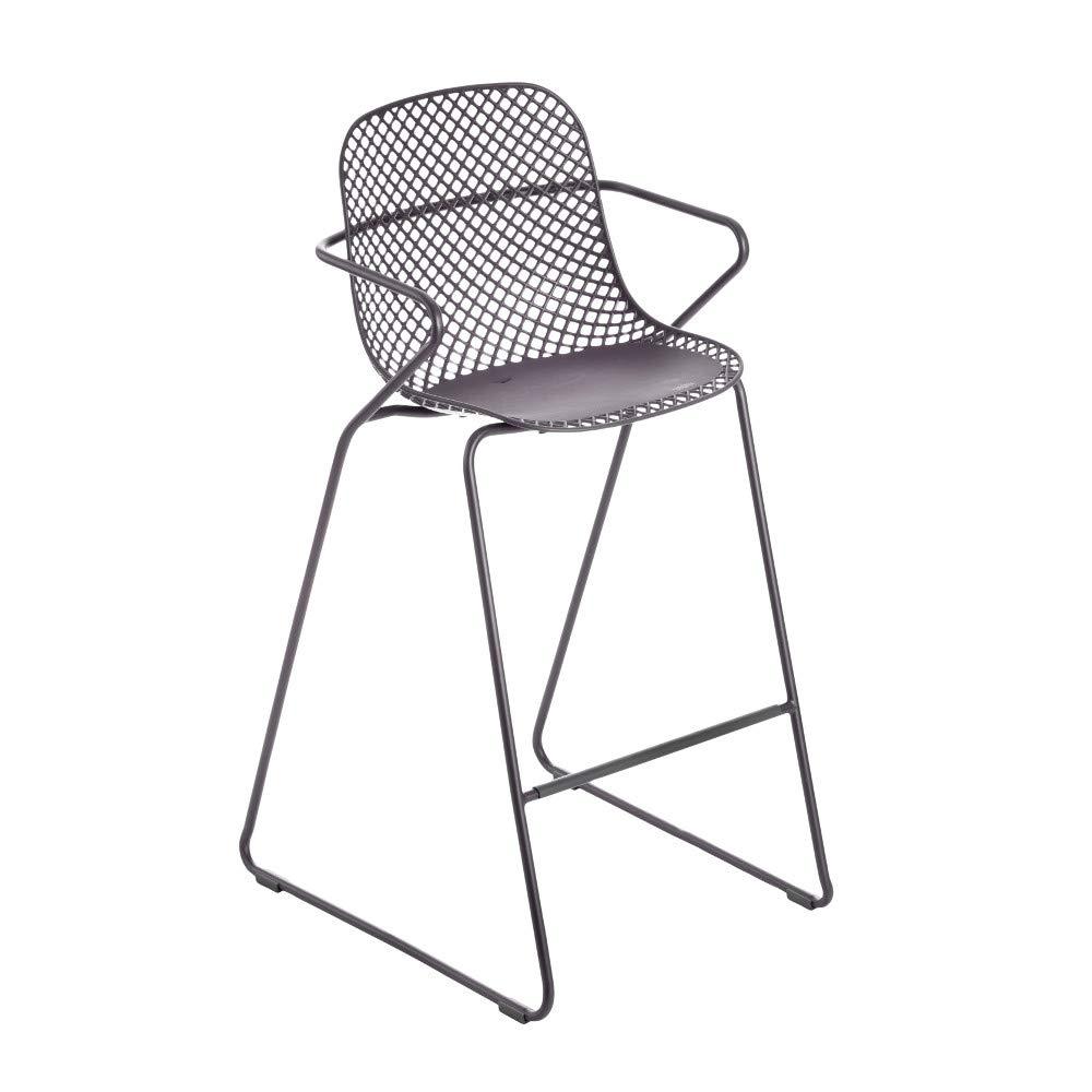 Grosfillex US139713 Ramatuelle '73 Armchair, Stackable, Gris Pavement (Case of 2)
