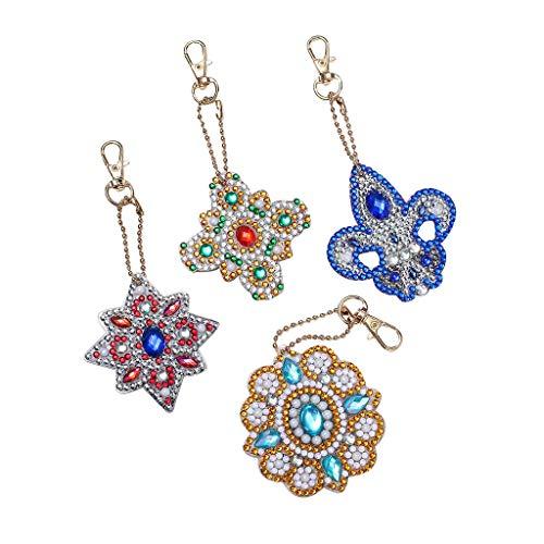 Diy Special Effects Halloween (Mayunn 5Pcs Key Ring DIY Flower Shape Full Diamond Diamond Pattern Set Diamond)