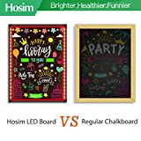 "Hosim LED Message Writing Board,32""x24"" Illuminated Erasable Neon Effect Restaurant Menu Sign with 8 colors Markers, 7 Colors Flashing Mode DIY Message Chalkboard for Kitchen Wedding Promotions"