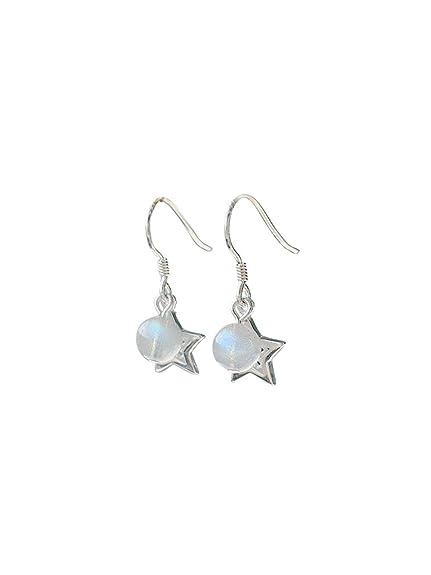 2caae658cd20 QIYUEQI Ms piedra de Luna Strawberry Crystal Star aretes de plata esterlina  925 ornamentos del oído El oído se quedan cortos.  Amazon.es  Joyería