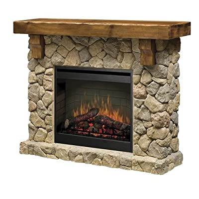 """Dimplex SMP-904-ST Fieldstone 26"""" Self-Trimming Electric Fireplace with Rustic M,"""