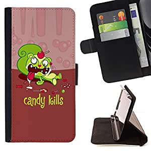 DEVIL CASE - FOR Samsung Galaxy A3 - Candy Sweets Kills Quote Slogan Sugar Death - Style PU Leather Case Wallet Flip Stand Flap Closure Cover