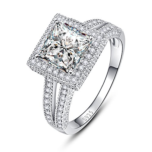 BONLAVIE 925 Sterling Silver Split Shank Princess Cut Cubic Zirconia CZ Promise Ring for Her Size 9 (Best Way To Clean Diamond Ring)