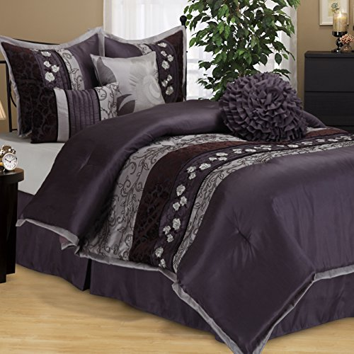 OS 7 Piece King Luxurious Purple Comforter Set, Bedding, Floral Jacquard Pattern, Cotton Polyester, Dark Purple, Silver Grey, Damask Flower Paisley Medallion Hippie Bohemian Kashmir Boho Chic Indie ()