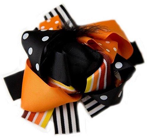 Cute Kids Clothing Baby Girl Toddler Girl/Girls Halloween Orange Black Korker Marabou Feather Hair -
