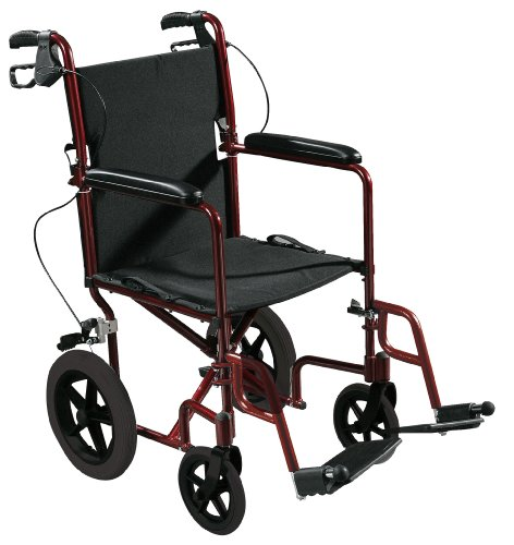 Drive Medical Expedition Aluminum Transport Wheelchair with Hand Brakes, Red, 19