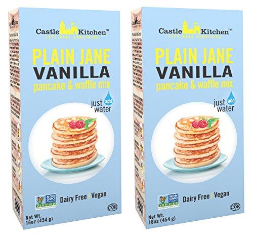 Vegan Pancake Mix - Dairy-Free Pancake and Waffle Mix, Vegan - Plain Jane Vanilla - Complete Mix, Just Add Water - 16 oz (Pack of 2)