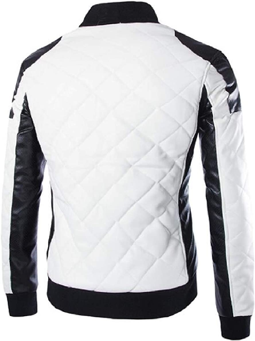 ONTBYB Mens Winter Quilted PU Coat Plus-Size Motorcycle Coat