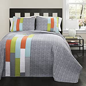 Lush Decor 3 Piece Shelly Stripe Quilt Set, Full/Queen, Orange
