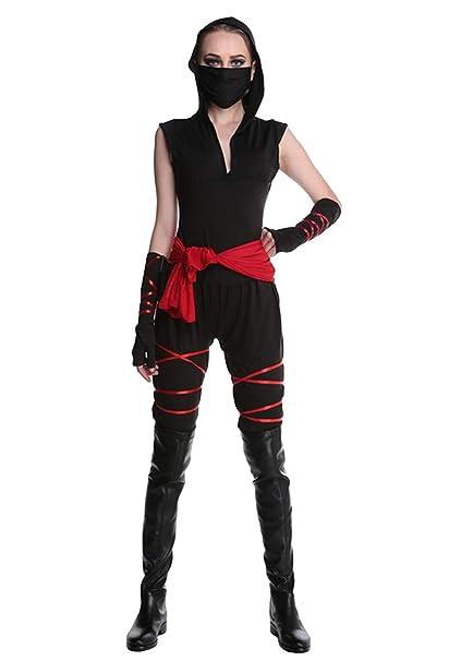 AniKigu Traje de Ninja para Mujer Negro Assassin Jumpsuit ...
