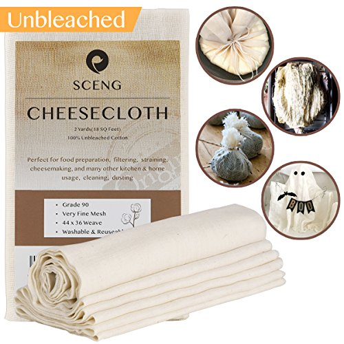 SCENG G90-2SQ Grade 90, 18 sq Feet, Reusable, 100% Unbleached Cotton Fabric, Ultra Fine Cheesecloth for Cooking-Nut Milk Bag, Strainer Filter, G90-2-Yards, Beige for $<!--$8.49-->