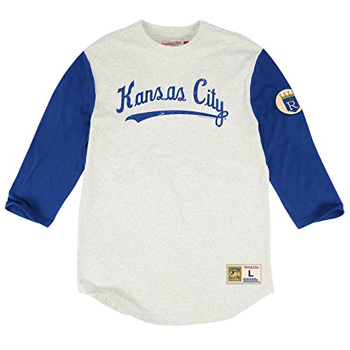 Mitchell & Ness Kansas City Royals Extra Out 3/4 Sleeve T-Shirt, MLB Mens Throwback Tee Shirt (L)