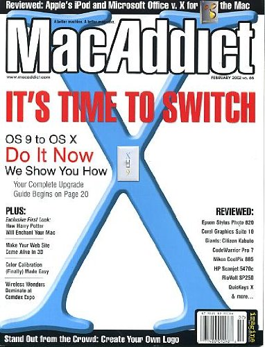 MacAddict February 2002 w/CD Upgrade from OS 9 to OS X, Microsoft Office, Harry Potter for Mac, Make Your Web Site Come Alive in 3D, Color Calibrations Made Easy, Wireless Wonders, Create Your Own Logo