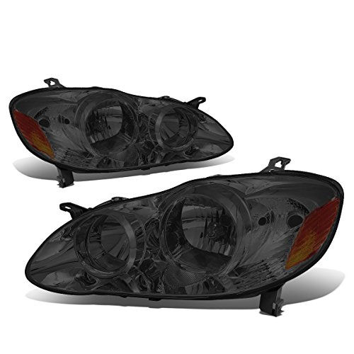 (For 03-08 Corolla E120 Pair of Smoked Lens Amber Corner Headlight Lamps)
