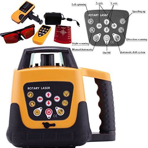 Rotary Level Control (Ambienceo 500M Red Beam 360°Automatic Electronic Self-leveling Rotary Rotating Laser Level Tool Kit with Remote Control Case)