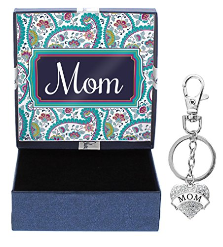 Mothers Day Gifts for Mom Silver-Tone Crystal Adorned Heart Shaped Keychain and Paisley Gift Box Birthday Gifts for Mom Keychain Mom Jewelry