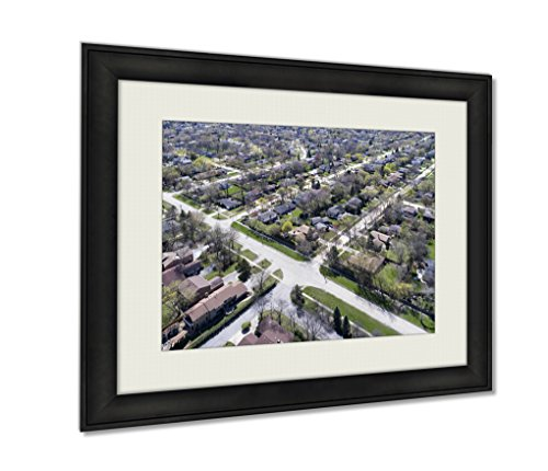 Ashley Framed Prints, Aerial View Of Suburban Neighborhood, Wall Art Decor Giclee Photo Print In Black Wood Frame, Ready to hang, 24x30 Art, - Illinois Court Northbrook