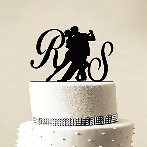 Personalized Wedding Acrylic Cake Topper Bridal Shower Dancing Couple Custom Wooden Cake Stand Top Decorating Party Supplies Bridal Shower Cake Decorating