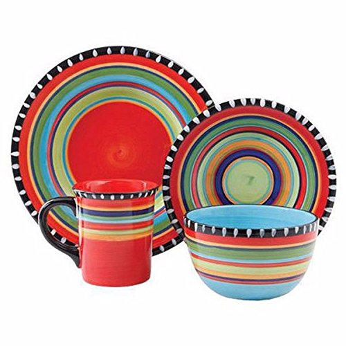 Red, Yellow, Green, Blue and Black Round Dinnerware Set Including 4-Dinner Plates, 4-Salad Plates, 4-Mugs and 4-Ice Cream Bowl Made From Stoneware and Stripe Pattern Included Cross Scented Candle Tart (Blue Green Dinnerware)