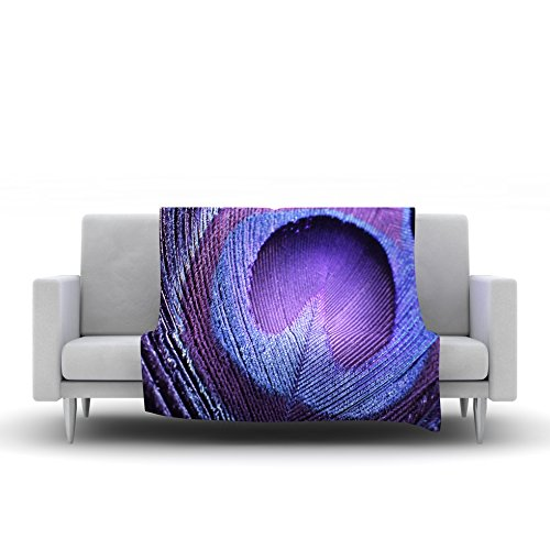 40 x 30 Kess InHouse Monika Strigel Purple Peacock Lavender Fleece Throw Blanket