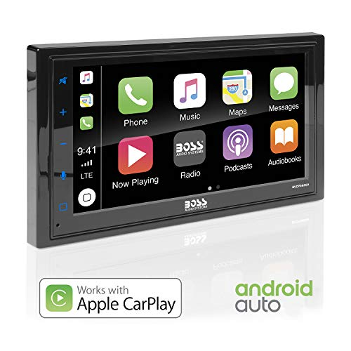 BOSS Audio BVCP9685A Apple Carplay Android Auto Car Multimedia Player - Double Din Car Stereo, 6.75 Inch LCD Touchscreen Monitor, Bluetooth, MP3 Player, USB Port, A/V Input, Am/FM Car Radio (Stereo Systems For Cars)