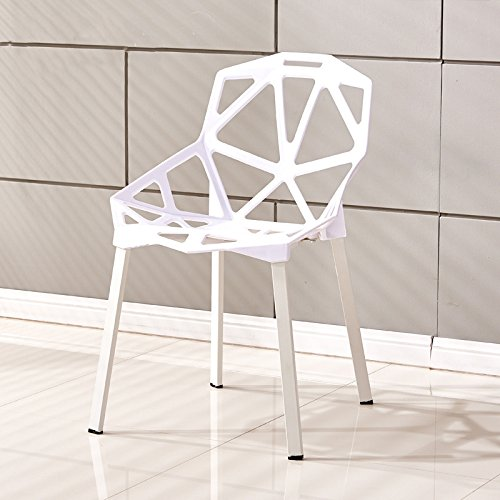European style dining table chair / modern minimalist chair / plastic backrest chair / creative fashion table and chair combination ( Color : White ) by Xin-stool