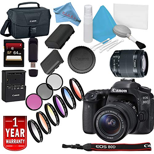 Canon EOS 80D DSLR Camera with 18-55mm Lens USA Model with Warranty Base Bundle For Sale