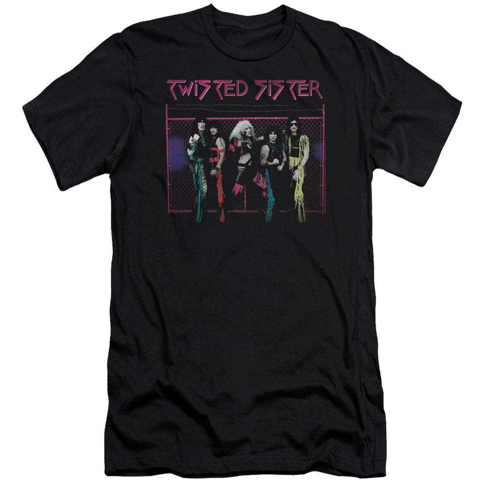 A E Designs Twisted Sister T Shirt Neon Fence Black Tee