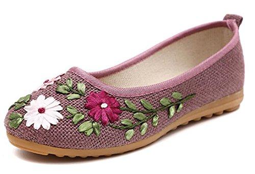 Bumud Damesschoenen Borduren Rijden Loafers Slip Op Platte Schoenen Paars