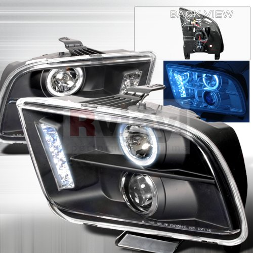 Mustang Projector Led Headlight - Spec-D Tuning LHP-MST05JM-TM Ford Mustang Halo Led Black Projector Head Lights