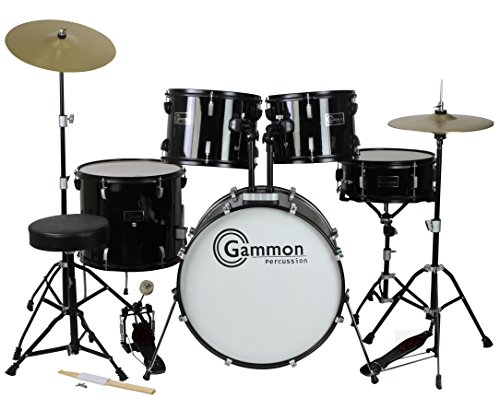 6439592b19cf Amazon.com  Gammon Percussion Full Size Complete Adult 5 Piece Drum Set  with Cymbals Stands Stool and Sticks