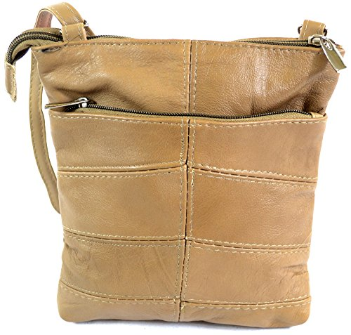 Handy Pockets Leather Cross Multiple Bag Tan Shoulder Black with Brown Fawn Ladies Fawn Body FdU8x6Fq