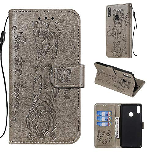 Shinyzone Leather Case for Huawei Y7 2019/Y7 Prime 2019,Motivational Quote Design Wallet Case,3D Printed Embossed Tiger Cat Pattern with Lanyard Card Slots and Kickstand Anti Shock Cover,Gray